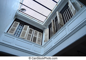 White terrace with windows