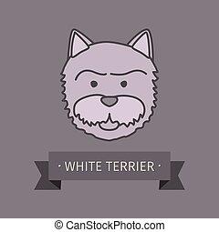 White terrier breed dog logo design