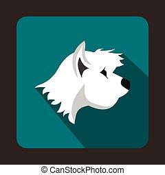 White terrier dog icon, flat style