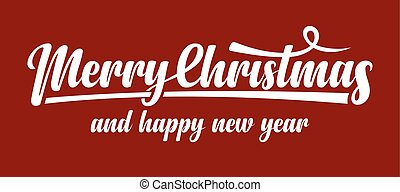 White text Marry Christmas and Happy New Year on red...