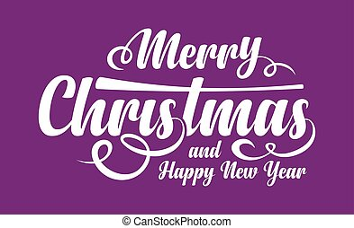 White text Marry Christmas and Happy New Year on violet...