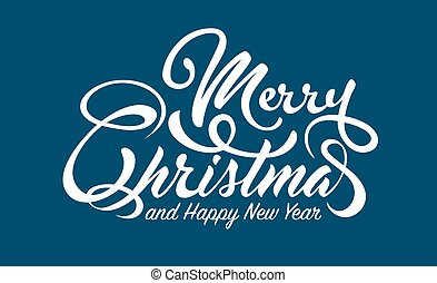 White text Marry Christmas and Happy New Year on blue...