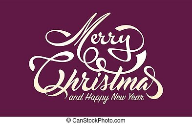 White text Marry Christmas and Happy New Year on green...
