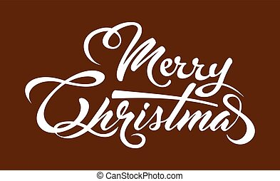 White text Marry Christmas on brown background.