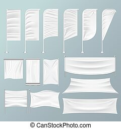 Wrinkled textile drape fabric vector empty white banners