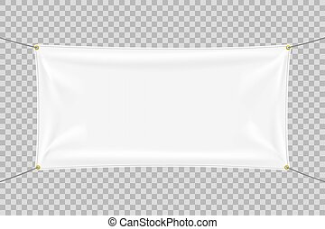 White textile banner mockup with folds  White textile banner
