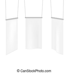 White textile banners template set.
