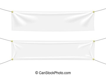 White textile banners with folds