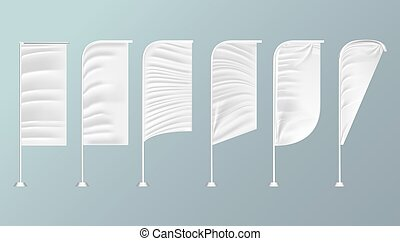 White textile outdoor feather flag. Advertising Banner. Mock Up Template.