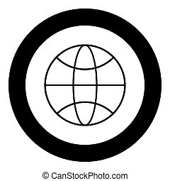WHITE the black color icon in circle or round