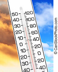 global warming - white thermometer close up, concept of ...