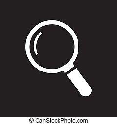 White thin line search icon - vector illustration