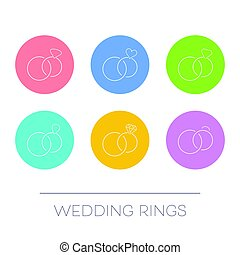 White thin line vector wedding rings