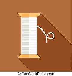 White thread spool icon, flat style