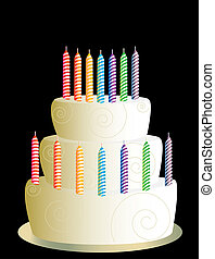 White three layer birthday cake on a black background
