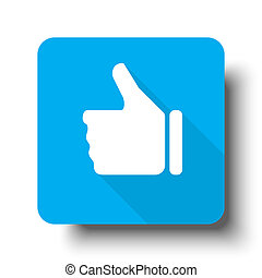 White Thumb Up icon on blue web button