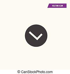 White tick icon vector symbol in black circle