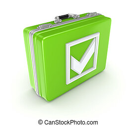 White tick mark on a green suitcase.