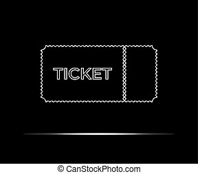 White ticket icon isolated on black background. Vector illustration.