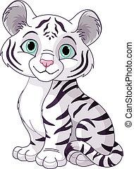 Cute white tiger cub