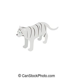 White tiger icon, isometric 3d style