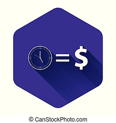 White Time is money icon isolated with long shadow. Money is time. Effective time management. Convert time to money. Purple hexagon button. Vector Illustration