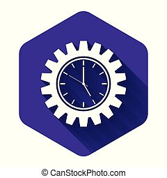 White Time Management icon isolated with long shadow. Clock and gear sign. Productivity symbol. Purple hexagon button. Vector Illustration