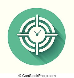 White Time Management icon isolated with long shadow. Clock and gear sign. Productivity symbol. Green circle button. Vector Illustration