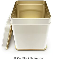 white tin box with lid