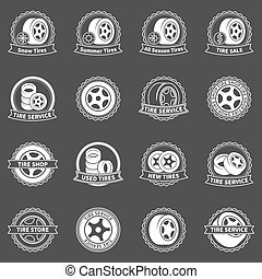 White tire vector emblems or badges