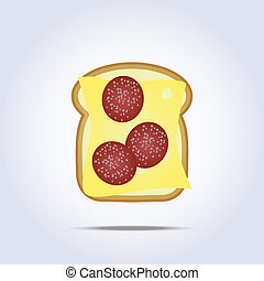White toast with cheese and salami icon