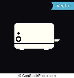White Toaster icon isolated on black background. Vector Illustration