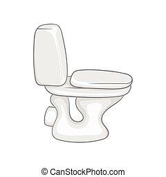 White toilet bowl icon, cartoon style