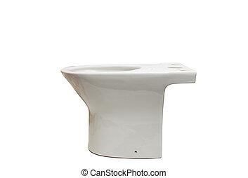 White toilet bowl isolated on white background