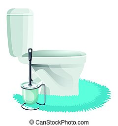 White Toilet Bowl On Blue Rug And Cleaning Brush Icons