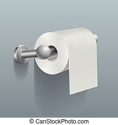 White toilet paper roll, serviette on wall vector...