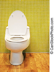 White toilet - Toilet in a modern bathroom - home interiors