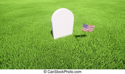 White Tombstone on grass. Day of Remembrance 4k