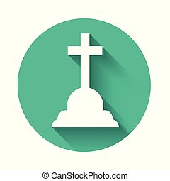 White Tombstone with cross icon isolated with long shadow. Grave icon. Green circle button. Vector Illustration