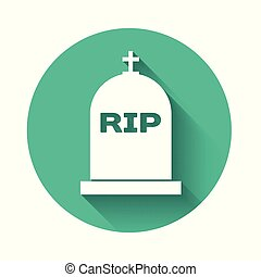 White Tombstone with RIP written on it icon isolated with long shadow. Grave icon. Green circle button. Vector Illustration