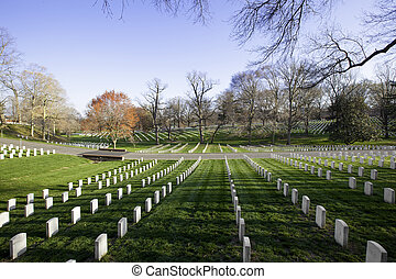 Arlington National Cemetery - White tombstones in Arlington...