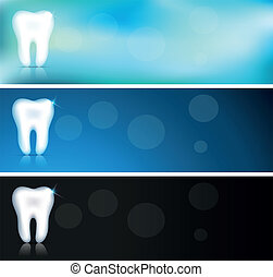 White tooth banners, three color variations, beautiful clean...