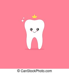 White Tooth character. Vector illustration.