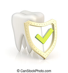 White tooth covered with the shield - White tooth covered by...