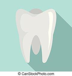 White tooth icon, flat style