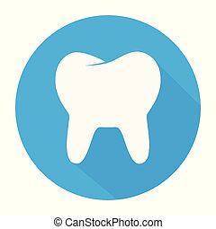 White Tooth icon in flat design with long shadow. Vector illustration. Simple Tooth icon on blue round button.