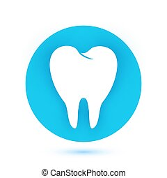 White Tooth icon in flat design with long shadow. Vector illustration.