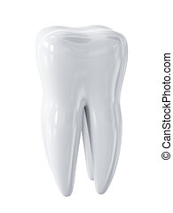 White tooth isolated - 3d render of white tooth isolated on...