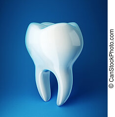 white tooth isolated on a blue background