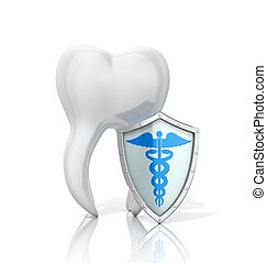 White tooth with a shield on a white background. The concept...